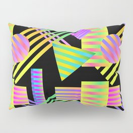 Neon Ombre 90's Striped Shapes Pillow Sham