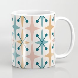 Mid Century Modern Abstract Star Pattern 221 Turquoise Ochre Dusty Rose and Teal Coffee Mug