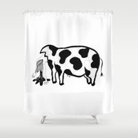 meat Shower Curtains featuring Happy Meat by nataly
