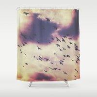 flight Shower Curtains featuring flight by Britannie Bond