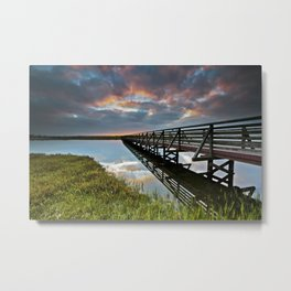 Bolsa Chica Wetlands Sunrise  6/17/14  (Reflections) Metal Print