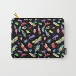 Rainbow Insects on Black, Pattern Carry-All Pouch