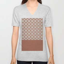 White Square Scroll Petal Pattern on Sherwin Williams Cavern Clay SW7701 Unisex V-Neck