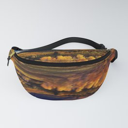 Yellow aspen trees reflection on blue lake photograph Fanny Pack