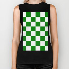 Large Checkered - White and Green Biker Tank