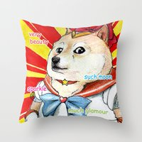 doge Throw Pillows featuring Sailor Doge by Michael Thomas Grant