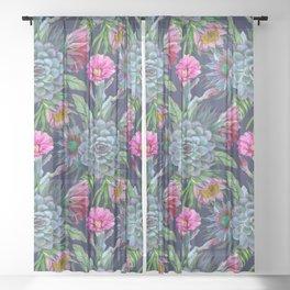 Exotic flower garden II Sheer Curtain