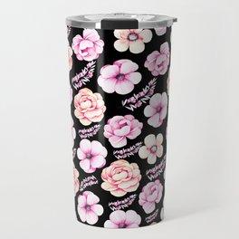 Watercolor coral pink black tropical floral Travel Mug