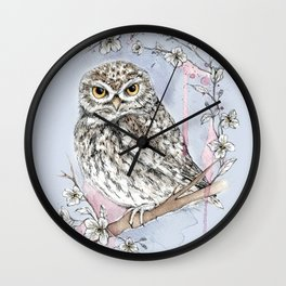 Wise Little Owl with Flowers Wall Clock