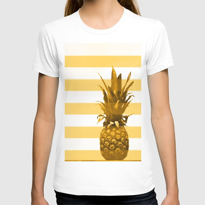 Pineapple with yellow stripes - summer feeling T-shirt