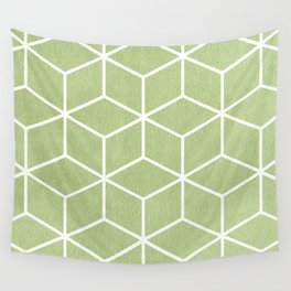 Lime Green and White - Geometric Textured Cube Design Wall Tapestry