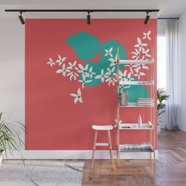 Minimalistic White Flowers On A Red Wall Mural