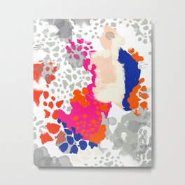 Mica - Abstract painting in modern fresh colors navy, orange, pink, cream, white, and gold Metal Print