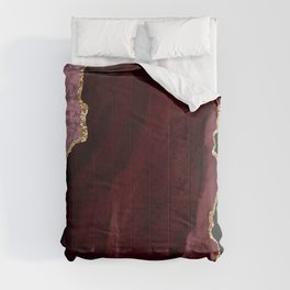 Agate, Burgundy Pink Faux Gold Comforters