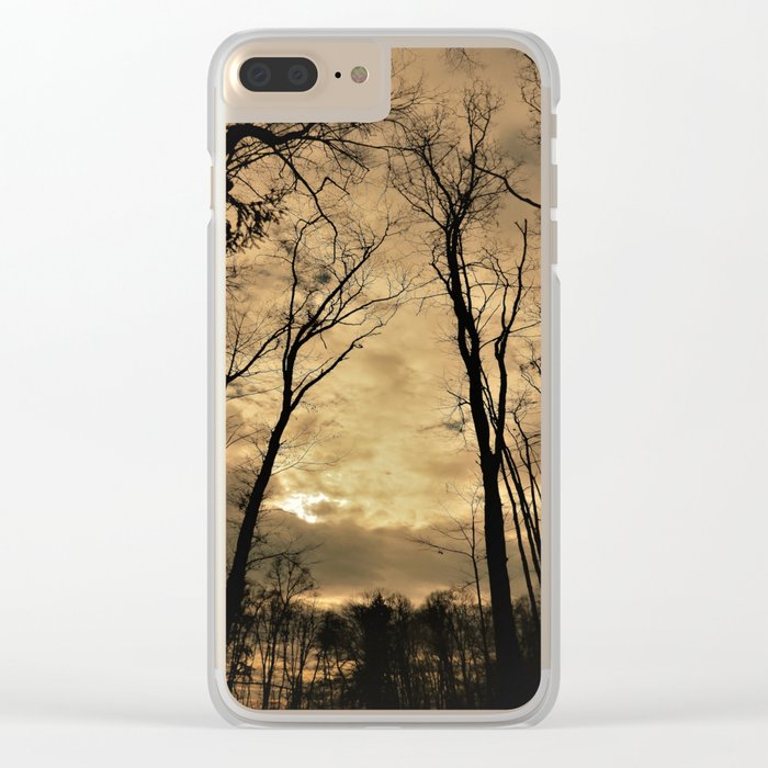 snow clouds above the wood Clear iPhone Case