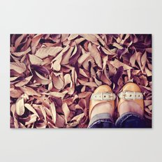yellow shoes, fall leaves Canvas Print