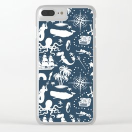 High Seas Adventure on Navy Clear iPhone Case