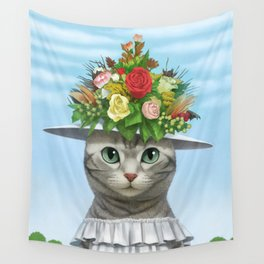 A cat wearing a flower hat Wall Tapestry