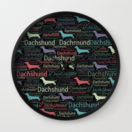 Dachshund silhouette and word art pattern Wall Clock