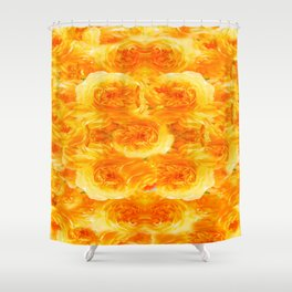 MODERN  GOLDEN ROSES FLOWERS CARPET Shower Curtain