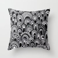 alisa burke Throw Pillows featuring black and white scallops by Alisa Burke