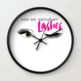 Ask Me About My Lashes - Green Eyes Wall Clock
