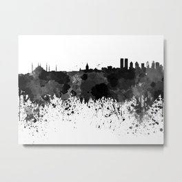Istanbul skyline in black watercolor Metal Print