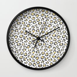 Glamorous Faux Sparkly Gold & Silver Leopard Wall Clock