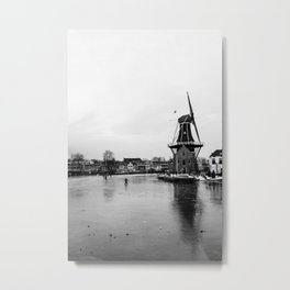 Iconic mill 'The Adrian' in black and white in Haarlem alongside a frozen Spaarne canal | Ice skating | Reflections | Architectural fine art print Metal Print