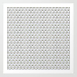 Faux White Leather Buttoned Art Print