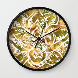 Golden Succulent Flower Wall Clock