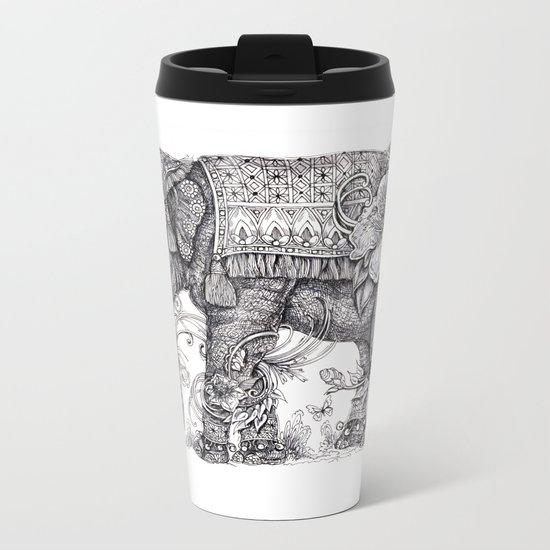 """Anesh the Creative Elephant"" Metal Travel Mug"