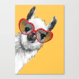 Fashion Hipster Llama with Glasses Canvas Print