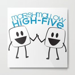 Marshmallow High Five Metal Print