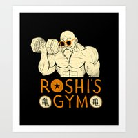 gym Art Prints featuring roshi's gym by Louis Roskosch