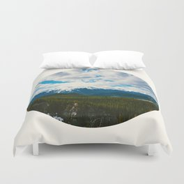 Mid Century Modern Round Circle Photo Arctic Landscape In The Summer Pine Forest Snow Mountains Duvet Cover