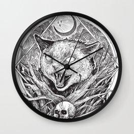 Wild cat b/w Wall Clock