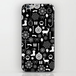 Christmas seamless pattern new year elements on black background iPhone Skin