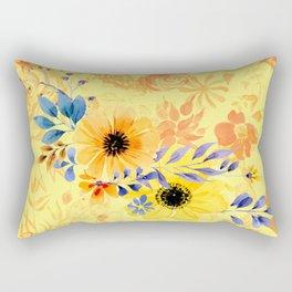Watercolour Spring Flowers Rectangular Pillow