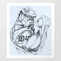 Irish Bulldog Veteran Art Print