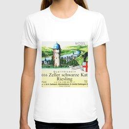 Vintage Zeller Schwarze Katz Riesling Black Cat Wine Bottle Mosel Label Print T-shirt