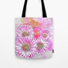 Pink Gerber Painterly Watercolor Tote Bag