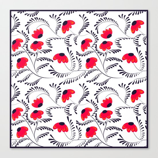 The floral pattern . Red flowers with black leaves . Canvas Print