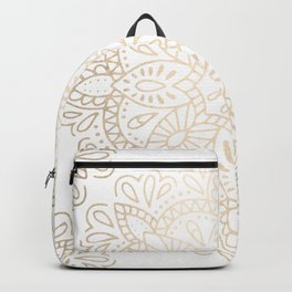 Mandala White Gold Shimmer by Nature Magick Backpack