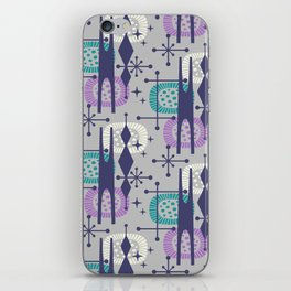 Retro Atomic Mid Century Pattern Grey Teal Blue and Lavender iPhone Skin