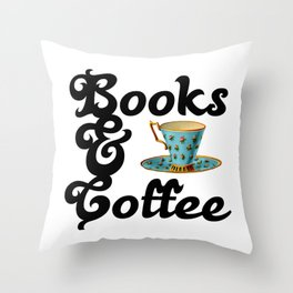 Books & Coffee Throw Pillow