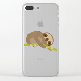 funny and cute Three-toed sloth on green branch Clear iPhone Case