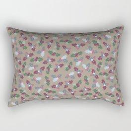 Holly Christmas Pattern Rectangular Pillow