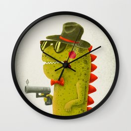 Dino bandito (olive) Wall Clock