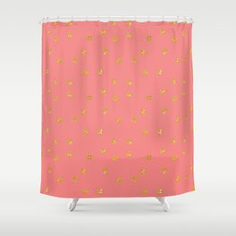Modern chic pastel coral faux gold glitter stars pattern Shower Curtain